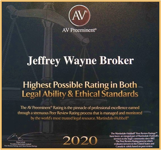Jeffery Wayne Broker - 2020 Award